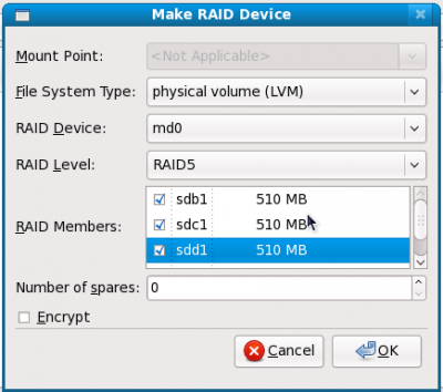 18 file system LVM desired RAID level check drives