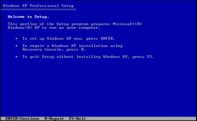 windows xp setup screen